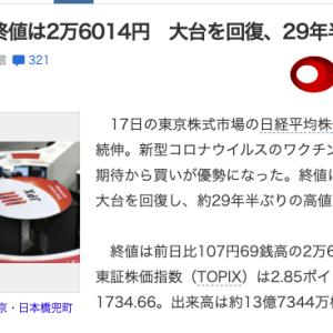 【ファイナンス】日経平均26000円回復