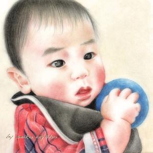 お孫ちゃん描きました。