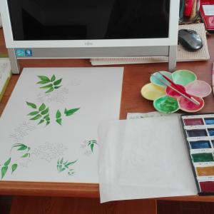 長女の誕生花を描く