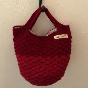 手編みバッグ完成しました。