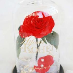 プロポーズオーダー 一輪の薔薇のガラスドーム アレンジ リングピロー付き