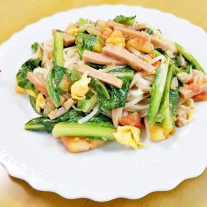 『油麦菜とハムの焼きビーフン』(^_-)-☆