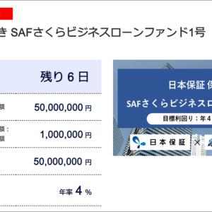 SAMURAIの日本保証 保証付き SAFさくらビジネスローンファンド1号に10万円投資しました。