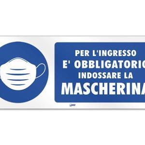 商品再入荷のお知らせ イタリア語表記サインプレート ご入店の際はマスクを着用下さい 30 x 12 cm