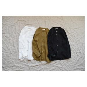 ♀ RINEN  |  60/1リネン平織 バンドカラーシャツ