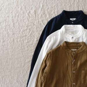 ♀ RINEN     40/1オーガニックダブルガーゼ スタンドカラーシャツ (women)