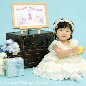 Saki一歳の記念写真・・・♪