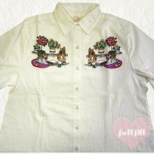 猫刺繍 長袖ブラウス