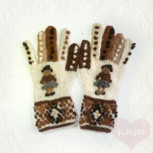 ポンポン 女の子モチーフ ニット手袋