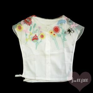 カラフルお花刺繍オーガンジー付け襟