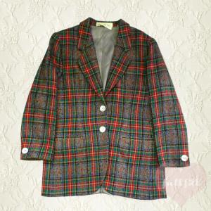 チェック柄 テーラードウールジャケット イタリア製