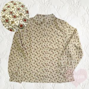 ハイネック レトロ花柄ブラウス