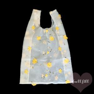 オーガンジーお花刺繍バッグ