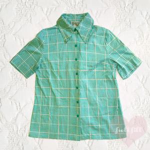 グリーンダイヤ柄 レトロ半袖シャツ