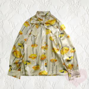 リボンタイ サテン長袖花柄ブラウス
