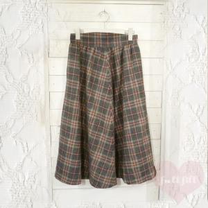 グレー系チェック柄ロングウールスカート
