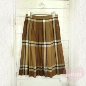 ブラウン系チェック柄プリーツウールスカート