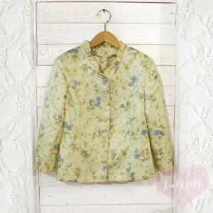 花柄刺繍 シルクサテンフリルジャケット
