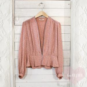 ピンク×ブルーグレー 長袖ブラウスジャケット