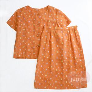 オレンジ カラフル刺繡セットアップ