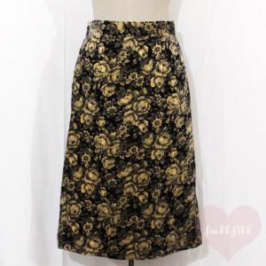 ベロア調 薔薇柄タイトスカート