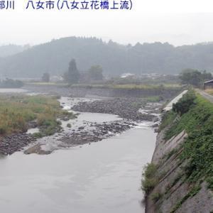 矢部川は減水しています