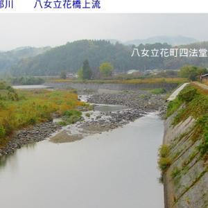 矢部川はかなり減水しています