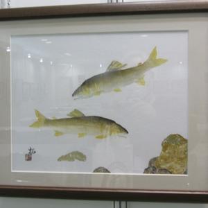 フイッシングショ-大阪で見かけた鮎魚拓