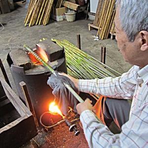 布袋竹より節の火抜き