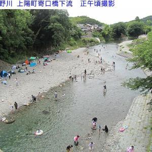 星野川&ほたると石橋の館付近は川遊びで賑わっています