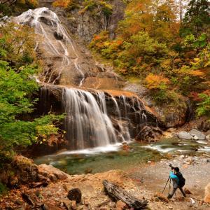 真っ赤に萌える紅葉と雄大な大滝が織りなす秋色のセカイ  白山白川郷ホワイトロード 姥ヶ滝紅葉撮影