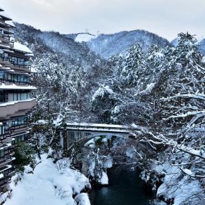 石川県有数の豪雪地帯 山中温泉鶴仙渓「ゆげ街道」の雪景色