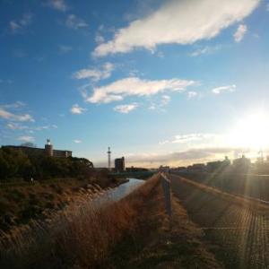 ★新しい散歩道と夕陽★