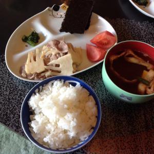 筍と豚肉の白梅酢炒め