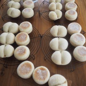 基本のレッスン第3章レーズン酵母の①うぐいす豆のリュスティック②米粉のマフィン&白パン
