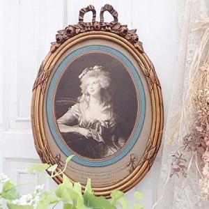 ★☆ リボンと薔薇彫刻 美術印刷肖像画 額装 ★☆