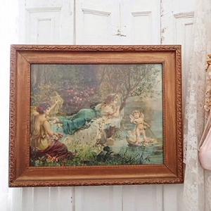 ★☆ 多色刷美術印刷 額装 『森の妖精と天使』 ★☆