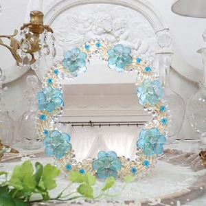 ★☆ 蒼いお花がいっぱい ムラーノガラスミラー ★☆