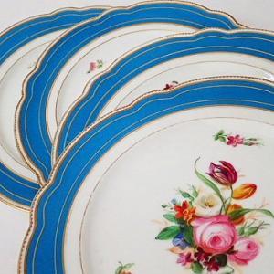 ★☆ パリ窯セーヴルスタイル 薔薇花紋プレートセット ★