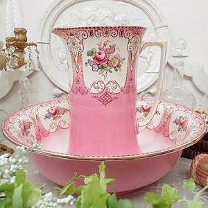 ★☆ 薔薇紋 ピンク陶器ジャグ&ベイスン ★☆