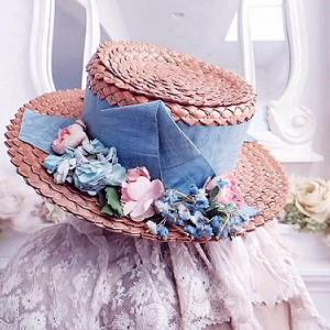 ★☆ 愛らしい 薔薇とリボンのシャポードパイユ ★☆