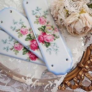★☆ ポーセリン 薔薇のドアプレート(ブルー)★☆