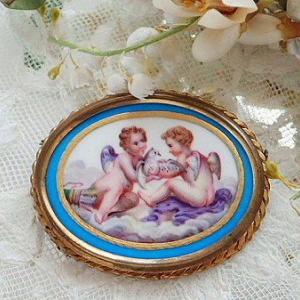 ★☆ セーヴルスタイル 天使の陶板画ブローチ ★☆