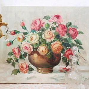 ★☆ ルノワールスタイル 薔薇の油絵 ★☆