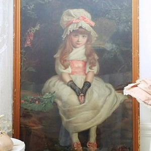 ★☆ ピンクリボンボンネ 美少女の肖像画 美術印刷額装 ★☆