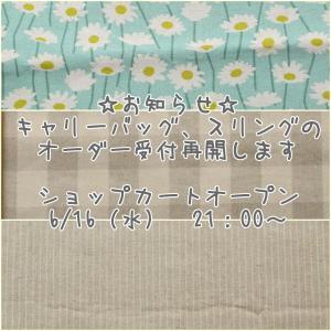 キャリーバッグ、スリングオーダー受付再開のお知らせ☆2021.06.13