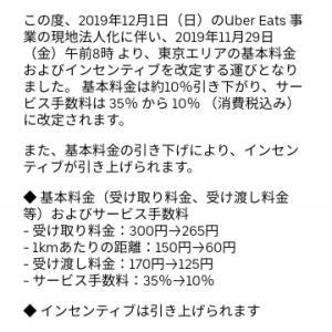 Uber Eats 12月より東京エリアの配達料改定