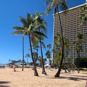 ヒルトンホテル近くのビーチでのんびりタイム