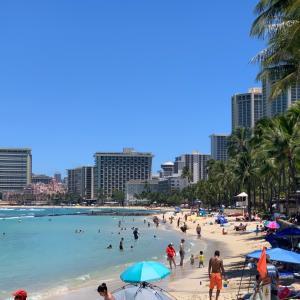 ハワイのクヒオビーチでシュノーケリング