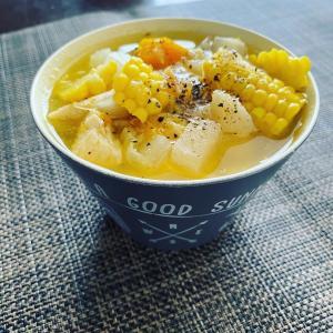 夏仕様の野菜スープ。